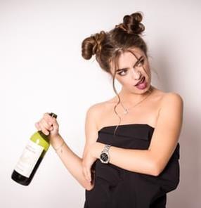 lady abusing alcohol